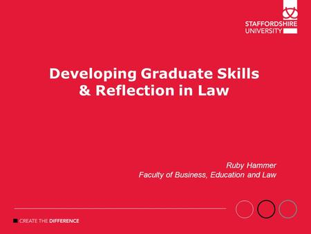 Developing Graduate Skills & Reflection in Law Ruby Hammer Faculty of Business, Education and Law.