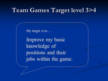 Team Games Target level 3>4 My target is to…. Improve my basic knowledge of positions and their jobs within the game.