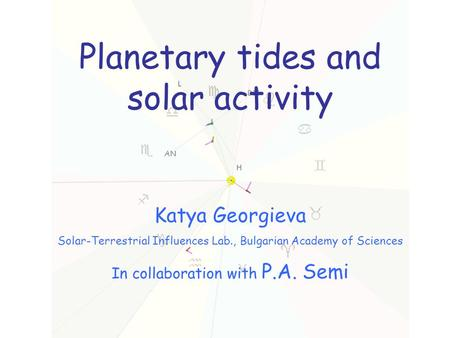 Planetary tides and solar activity Katya Georgieva Solar-Terrestrial Influences Lab., Bulgarian Academy of Sciences In collaboration with P.A. Semi.