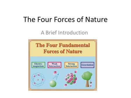 The Four Forces of Nature A Brief Introduction. The forces of nature are responsible for providing the energy we used everyday! Recall…Energy comes from.