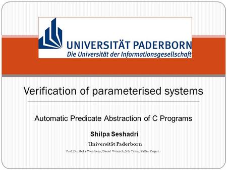 Verification of parameterised systems