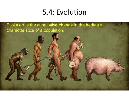 5.4: Evolution Evolution is the cumulative change in the heritable characteristics of a population.