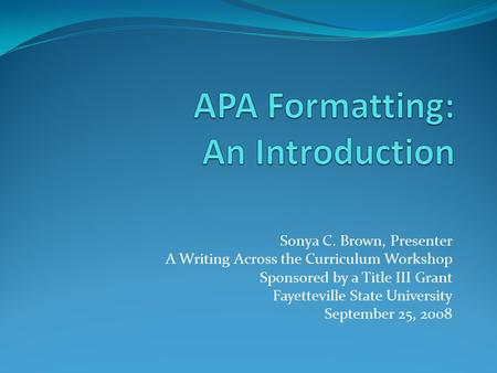 Mru apa documentation in research papers fall 2011