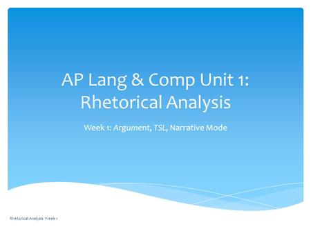 AP Lang & Comp Unit 1: Rhetorical Analysis Week 1: Argument, TSL, Narrative Mode Rhetorical Analysis Week 1.