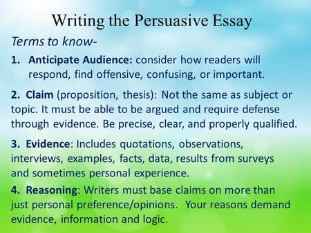 Topic For A Persuasive Essay