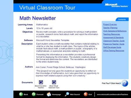 Math Newsletter Project Overview Teacher Planning Work Samples & Reflections Teaching Resources Assessment & Standards Classroom Teacher Guide Preservice.