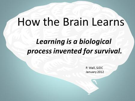 How the Brain Learns Learning is a biological process invented for survival. P. Wall, SJDC January 2012.
