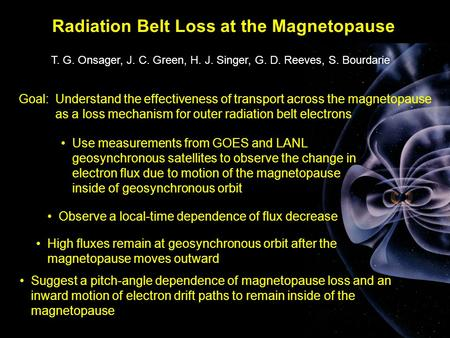 Radiation Belt Loss at the Magnetopause T. G. Onsager, J. C. Green, H. J. Singer, G. D. Reeves, S. Bourdarie Suggest a pitch-angle dependence of magnetopause.