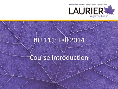 BU 111: Fall 2014 Course Introduction