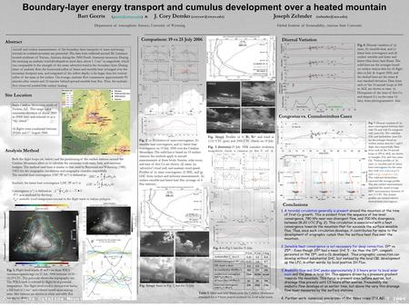 Boundary-layer energy transport and cumulus development over a heated mountain Bart Geerts & J. Cory Demko Joseph Zehnder.