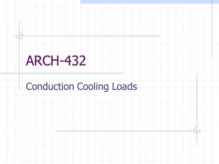 Conduction Cooling Loads