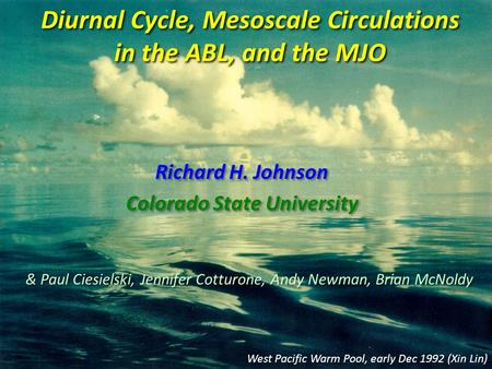 Diurnal Cycle, Mesoscale Circulations in the ABL, and the MJO Richard H. Johnson Colorado State University Richard H. Johnson Colorado State University.