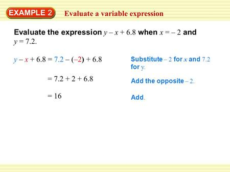 EXAMPLE 2 Evaluate a variable expression Substitute – 2 for x and 7.2 for y. Add the opposite – 2. = 7.2 + 2 + 6.8 Evaluate the expression y – x + 6.8.