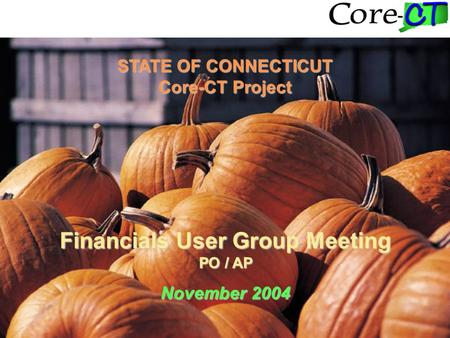 STATE OF CONNECTICUT Core-CT Project Financials User Group Meeting PO / AP November 2004.
