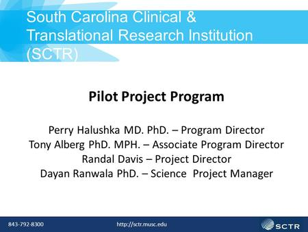 Pilot Project Program Perry Halushka MD. PhD. – Program Director Tony Alberg PhD. MPH. – Associate Program Director Randal Davis – Project Director Dayan.