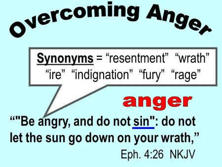 """Be angry, and do not sin: do not let the sun go down on your wrath,"" Eph. 4:26 NKJV Synonyms Synonyms = ""resentment"" ""wrath"" ""ire"" ""indignation"" ""fury"""
