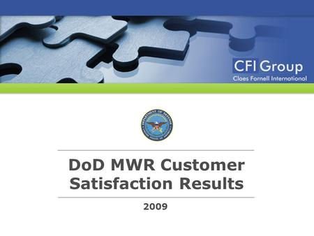 2009 DoD MWR Customer Satisfaction Results. © 2009 CFI Group. All rights reserved. Survey Methodology Survey Respondents 24,920 interviews were completed.