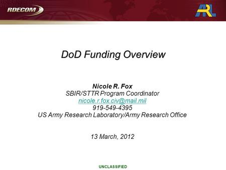 UNCLASSIFIED Nicole R. Fox SBIR/STTR Program Coordinator 919-549-4395 US Army Research Laboratory/Army Research Office 13 March,