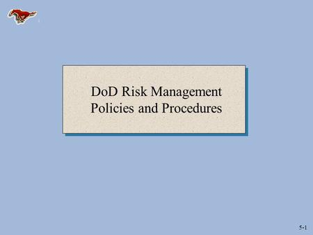 "5-1 DoD Risk Management Policies and Procedures. 5-2 Risk Assessment and Management (DoD 5000.1) ""Program Managers and other acquisition managers shall."