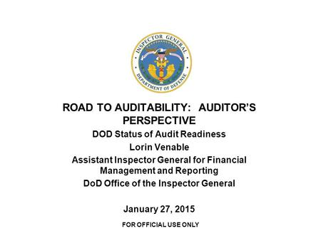 ROAD TO AUDITABILITY: AUDITOR'S PERSPECTIVE