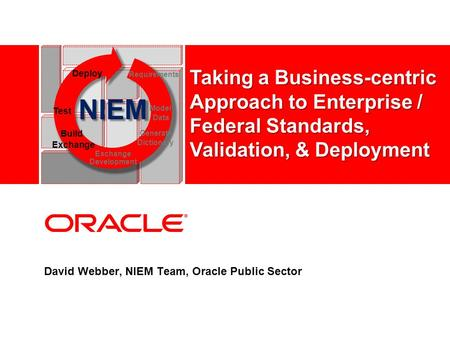 David Webber, NIEM Team, Oracle Public Sector NIEM Test Model Data Deploy Requirements Build Exchange Generate Dictionary Exchange Development Taking a.