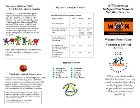 Wellness Report Card Nutrition & Physical Activity 2012 Williamstown Independent School is dedicated to serving nutritious meals and providing multiple.
