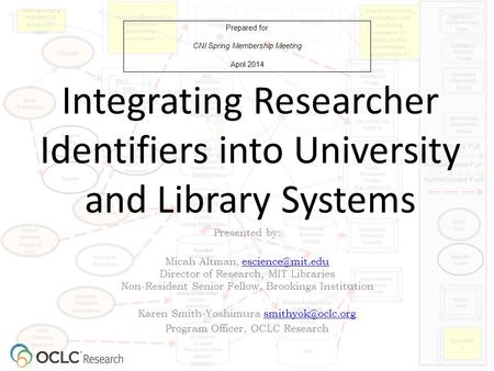 Integrating Researcher Identifiers into University and Library Systems Prepared for CNI Spring Membership Meeting April 2014 Presented by: Micah Altman,