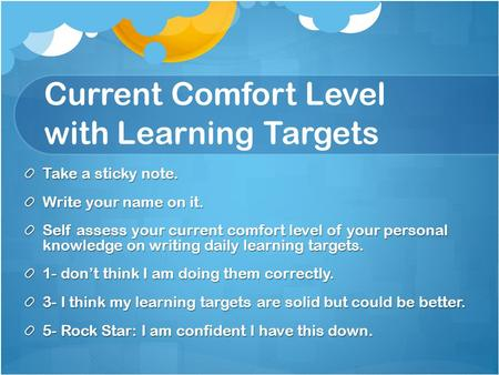 Current Comfort Level with Learning Targets Take a sticky note. Write your name on it. Self assess your current comfort level of your personal knowledge.