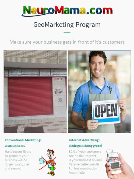 GeoMarketing Program Conventional Marketing: Waste of money Internet Advertising: Rodrigo is doing great! Make sure your business gets in front of it's.