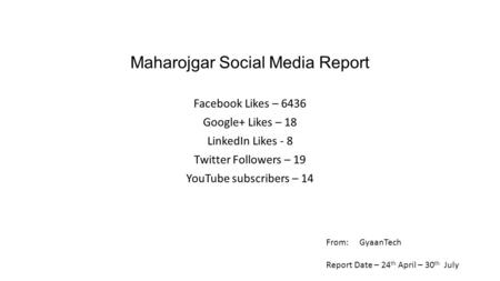 Maharojgar Social Media Report