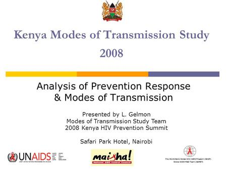 The World Bank Global HIV/AIDS Program (GHAP) Global AIDS M&E Team (GAMET) Kenya Modes of Transmission Study 2008 Analysis of Prevention Response & Modes.