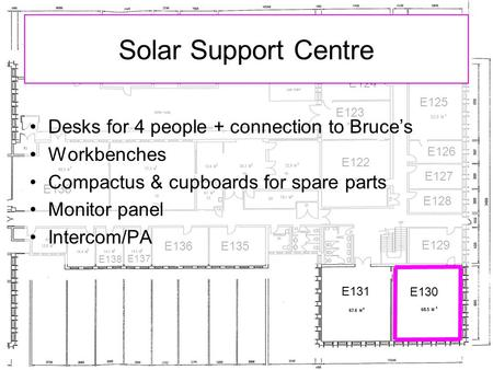 E122 E123 E124 E125 E126 E127 E128 E129 E130 E131 E135 E136 E137 E138 E136 Solar Support Centre Desks for 4 people + connection to Bruce's Workbenches.