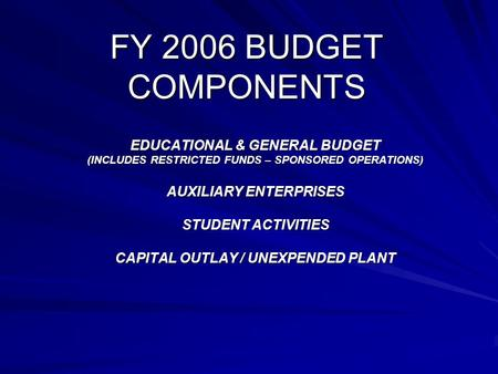 FY 2006 BUDGET COMPONENTS EDUCATIONAL & GENERAL BUDGET (INCLUDES RESTRICTED FUNDS – SPONSORED OPERATIONS) AUXILIARY ENTERPRISES STUDENT ACTIVITIES CAPITAL.
