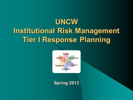 UNCW Institutional Risk Management Tier I Response Planning Spring 2013.