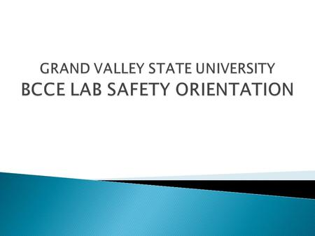  An orientation to GVSU's lab facilities.  A description of GVSU's health and safety program.  Procedures for gaining access to your workshop supplies.