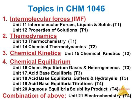 Topics in CHM 1046 Intermolecular forces (IMF) Themodynamics