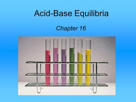 Acid-Base Equilibria Chapter 16. The common ion effect is the shift in equilibrium caused by the addition of a compound having an ion in common with the.