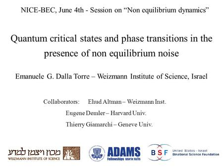 Quantum critical states and phase transitions in the presence of non equilibrium noise Emanuele G. Dalla Torre – Weizmann Institute of Science, Israel.
