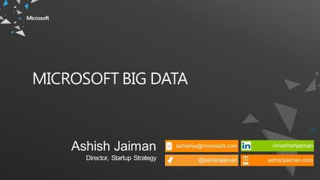 MICROSOFT BIG DATA. WHAT IS BIG DATA? How do I optimize my fleet based on weather and traffic patterns? SOCIAL & WEB ANALYTICS LIVE DATA FEEDS ADVANCED.