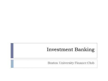Boston University Finance Club