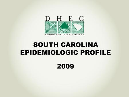 SOUTH CAROLINA EPIDEMIOLOGIC PROFILE 2009. Data available in an Integrated Epidemiologic Profile Core Epi Section Socio-demographic characteristics of.