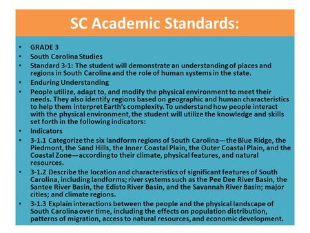 SC Academic Standards: GRADE 3 South Carolina Studies Standard 3-1: The student will demonstrate an understanding of places and regions in South Carolina.