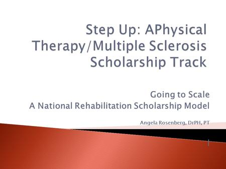 Going to Scale A National Rehabilitation Scholarship Model Angela Rosenberg, DrPH, PT l.