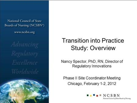 Transition into Practice Study: Overview Nancy Spector, PhD, RN, Director of Regulatory Innovations Phase II Site Coordinator Meeting Chicago, February.