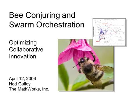 Bee Conjuring and Swarm Orchestration Optimizing Collaborative Innovation April 12, 2006 Ned Gulley The MathWorks, Inc.