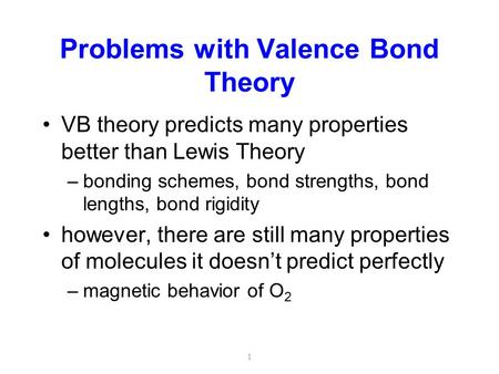 Problems with Valence Bond Theory