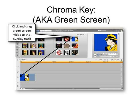 Chroma Key: (AKA Green Screen) Click and drag green screen video to the overlay track.