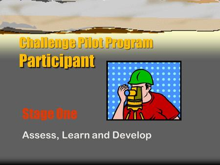 Participant Challenge Pilot Program Participant Stage One Assess, Learn and Develop.
