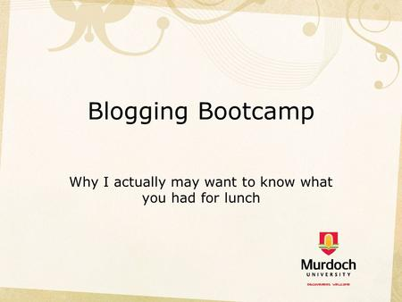 Blogging Bootcamp Why I actually may want to know what you had for lunch.