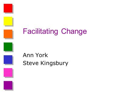 Facilitating Change Ann York Steve Kingsbury. 3 STEPS TO CHANGE Intolerable Shared vision Plan.